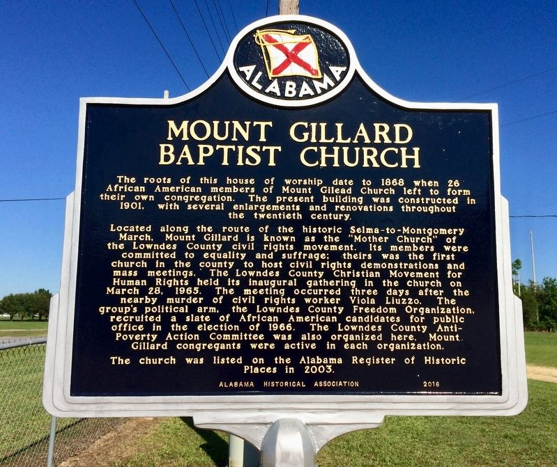 Mount Gillard Baptist Church Marker image. Click for full size.