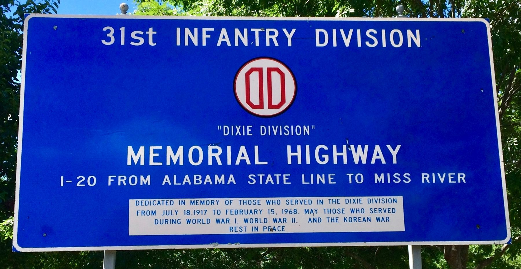 31st Infantry Division Memorial Highway Marker image. Click for full size.