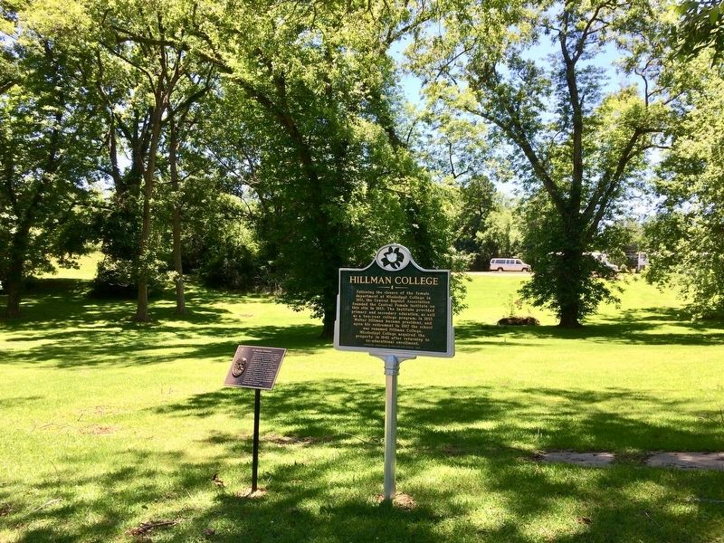 Hillman College Marker in front of former college location. image. Click for full size.