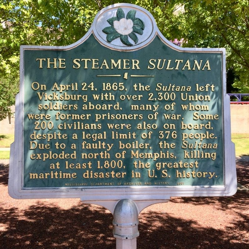 The Steamer <i>Sultana</i> Marker image. Click for full size.