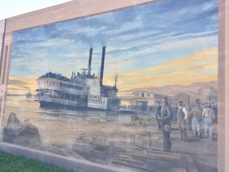 Mural of Sultana, across street from marker. image. Click for full size.