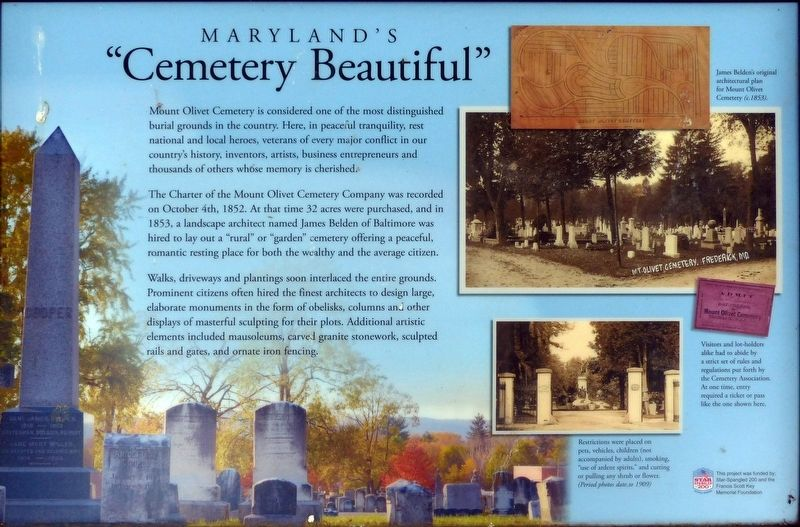 "Maryland's ""Cemetery Beautiful"" Marker image. Click for full size."