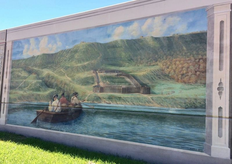 Mural depiction of the former Fort Nogales. image. Click for full size.