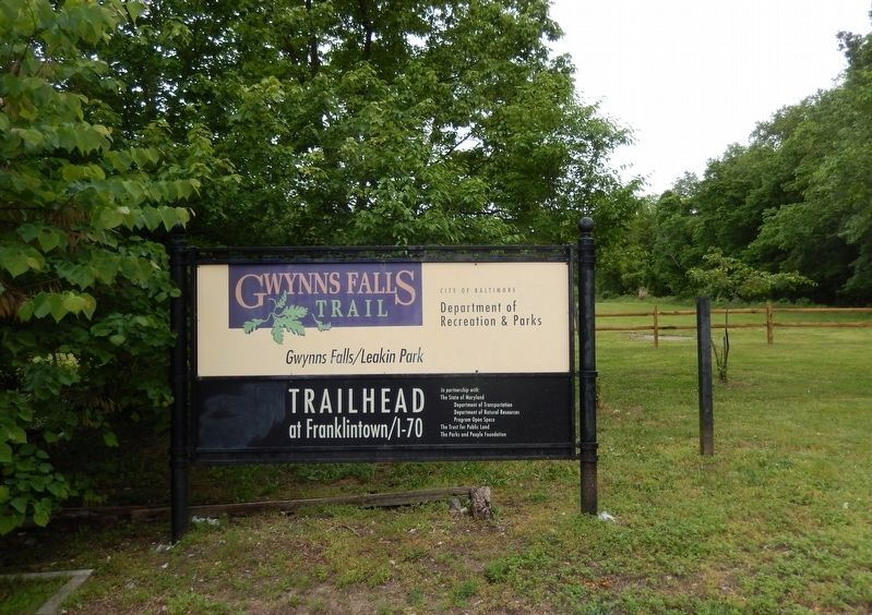 Gwynns Falls Trailhead sign image. Click for full size.