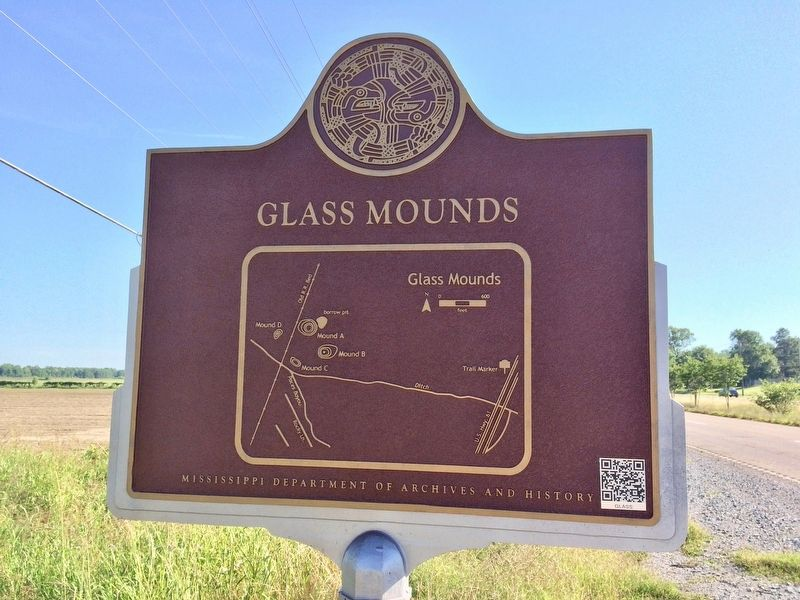 Glass Mounds Marker (Rear map of mound area) image. Click for full size.