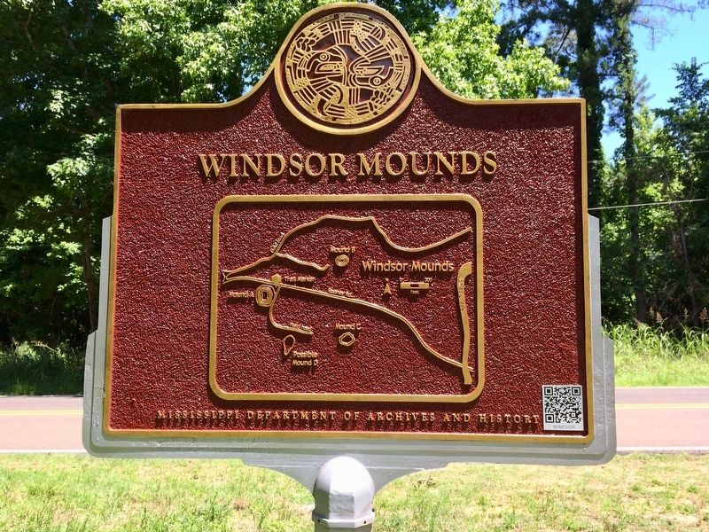 Windsor Mounds Marker (Rear map showing mound locations) image. Click for full size.