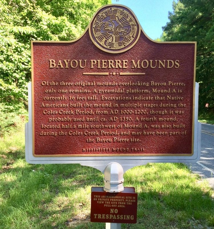 Bayou Pierre Mounds Marker (Front) image. Click for full size.