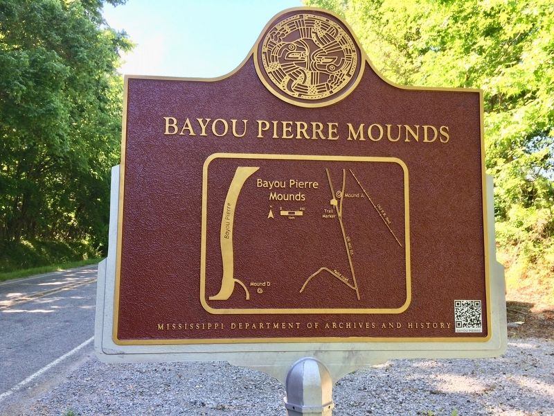 Bayou Pierre Mounds Marker (Rear map showing mound location). image. Click for full size.