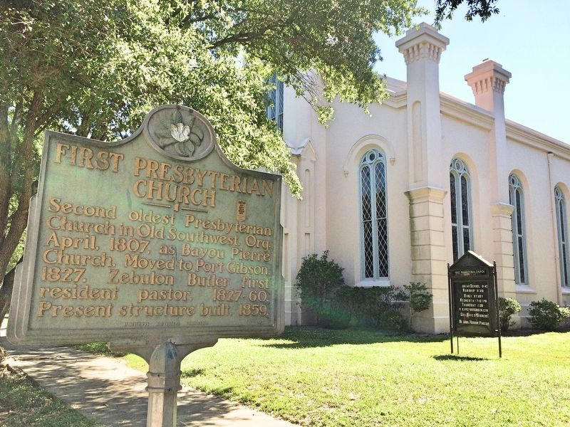 First Presbyterian Church and marker. image. Click for full size.