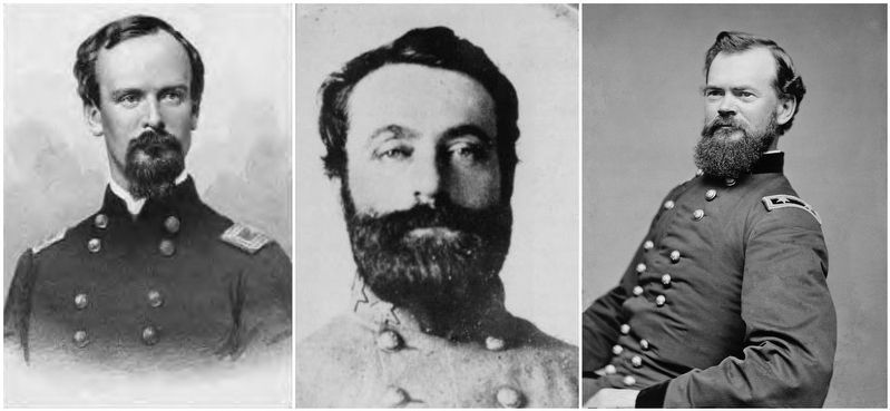 General Burbridge (left), General Baldwin, & General McPherson (right). image. Click for full size.
