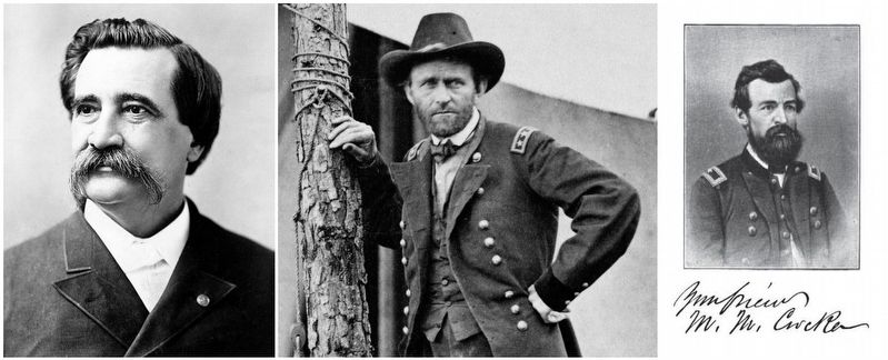 General John A. Logan (left), General Ulysses S. Grant, General Marcellus M. Crocker (right) image. Click for full size.