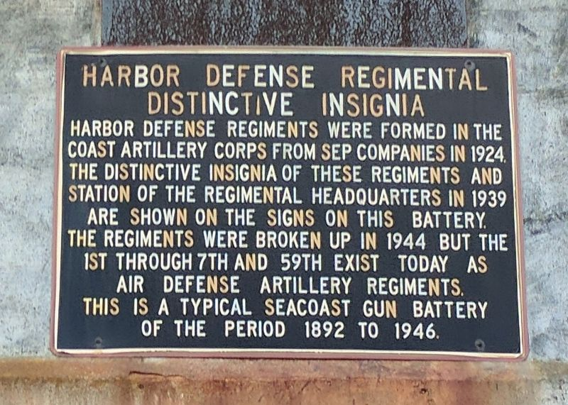Harbor Defense Regimental Distinctive Insignia Marker image. Click for full size.