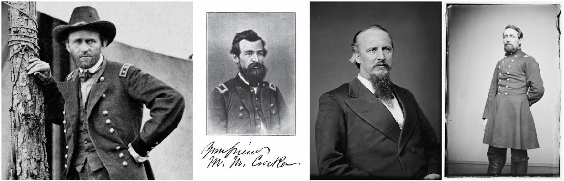 General U.S. Grant (left), Colonel Francis Cockrell, General M.M. Crocker & Captain Samuel DeGolyer image. Click for full size.