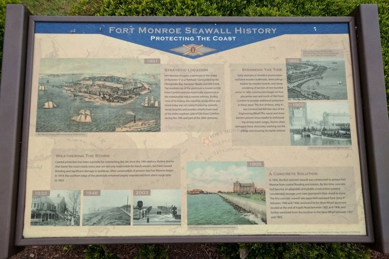 Fort Monroe Seawall History Marker image. Click for full size.
