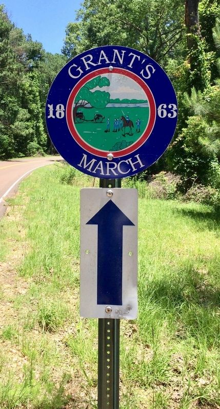 Grant's 1863 March road marker. image. Click for full size.