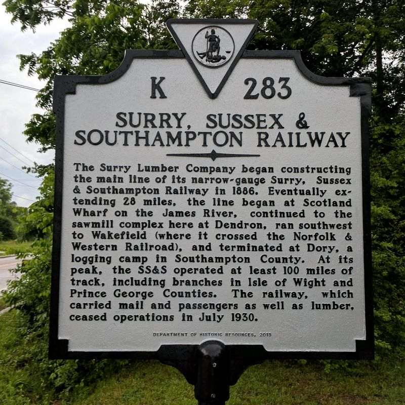 Surry, Sussex & Southampton Railway Marker image. Click for full size.