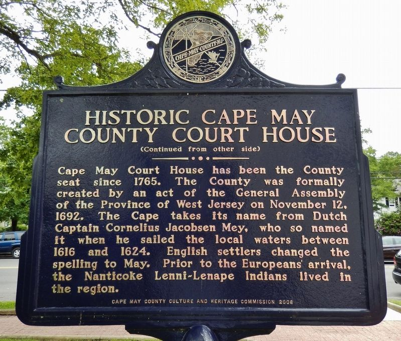 Historic Cape May County Court House Marker (side 2) image. Click for full size.