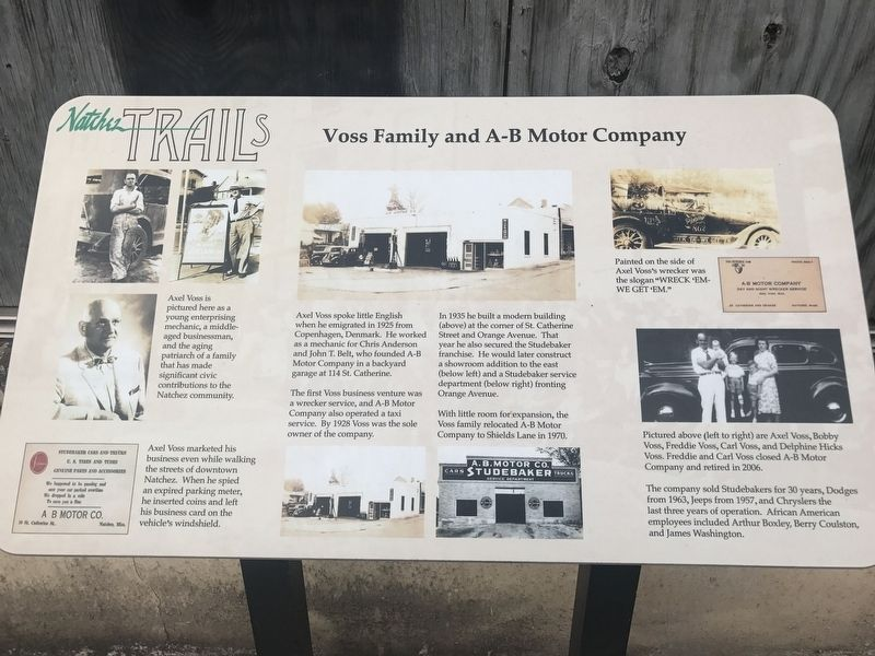 Voss Family and A-B Motor Company Marker image. Click for full size.