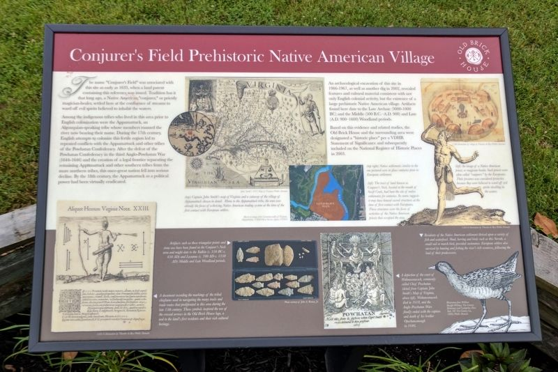 Conjurer's Field Prehistoric Native American Village Marker image. Click for full size.