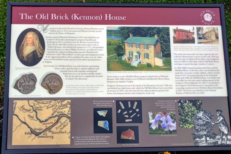 The Old Brick (Kennon) House Marker image. Click for full size.