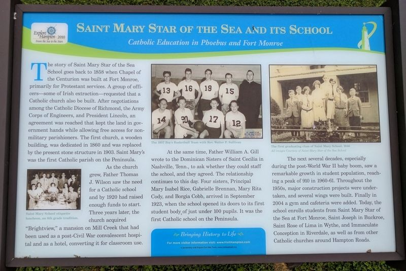 Saint Mary Star Of The Sea And Its School Marker image. Click for full size.