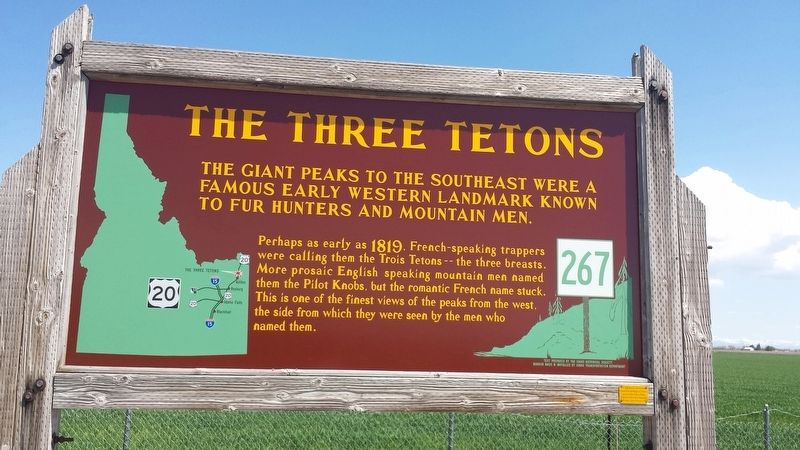 The Three Tetons Marker image. Click for full size.