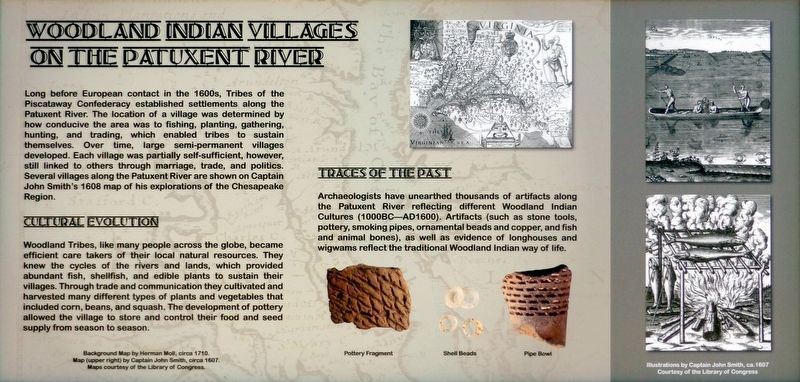 Woodland Indian Villages on the Patuxent River Marker image. Click for full size.