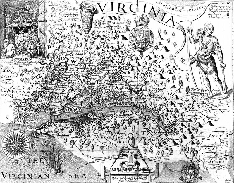 Captain John Smith's 1606 Map of Virginia image. Click for full size.