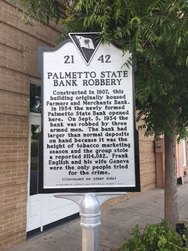 Palmetto State Bank Robbery Marker image. Click for full size.