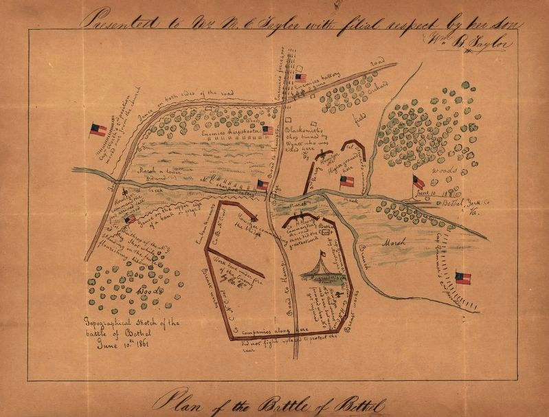 Topographical sketch of the Battle of Bethel, June 10th, 1861. image. Click for full size.