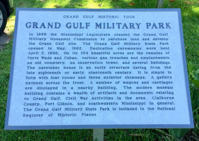 Grand Gulf Military Park Marker image. Click for full size.