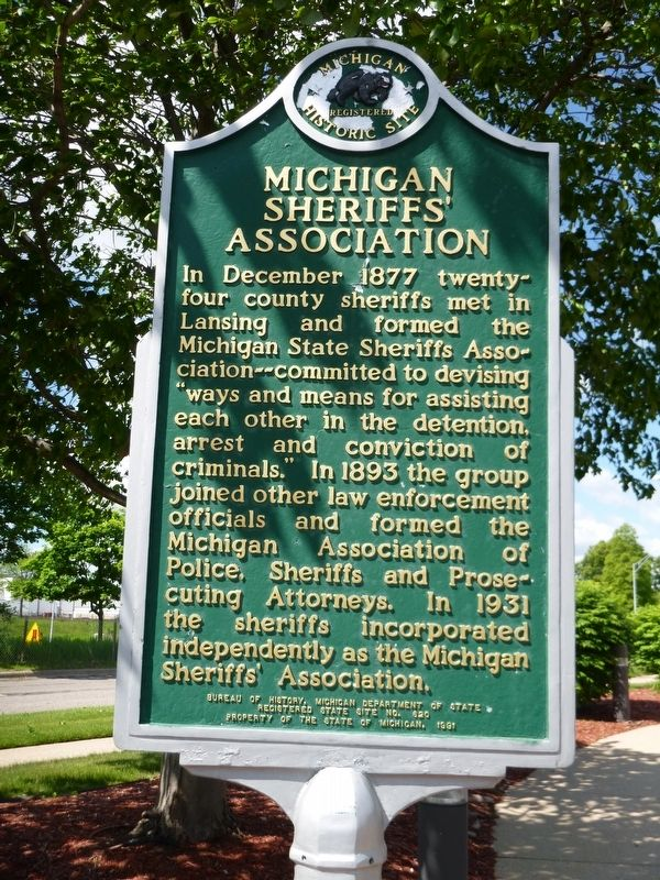 Michigan Sheriffs' Association Marker image. Click for full size.