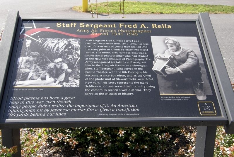 Staff Sergeant Fred A. Rella Marker image. Click for full size.