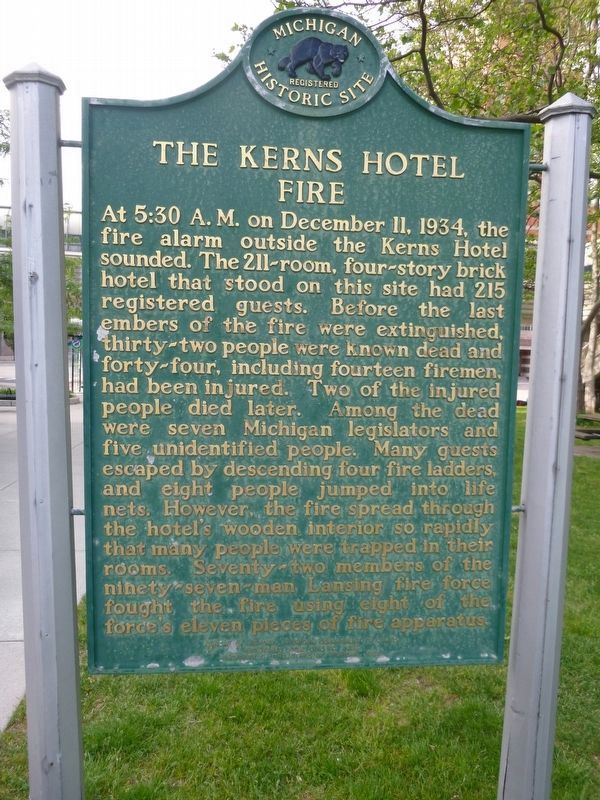 Kerns Hotel Fire Marker image. Click for full size.