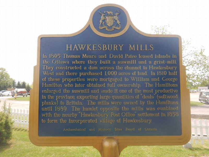 Hawkesbury Mills Marker image. Click for full size.