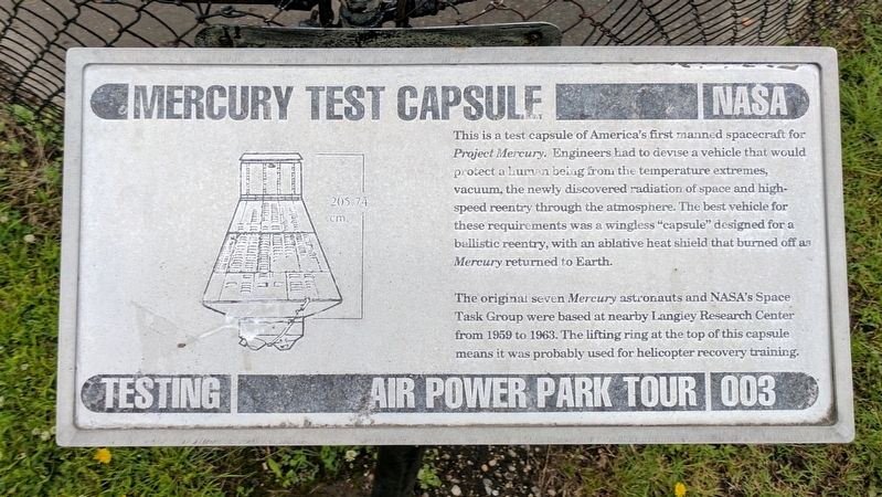 Mercury Test Capsule Marker image. Click for full size.