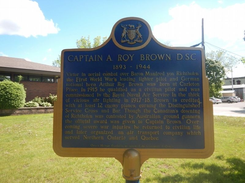 Captain A. Roy Brown, D.S.C. Marker image. Click for full size.