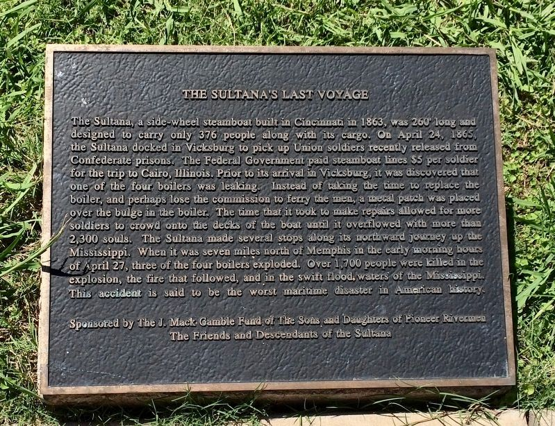 The Sultana's Last Voyage Marker image. Click for full size.