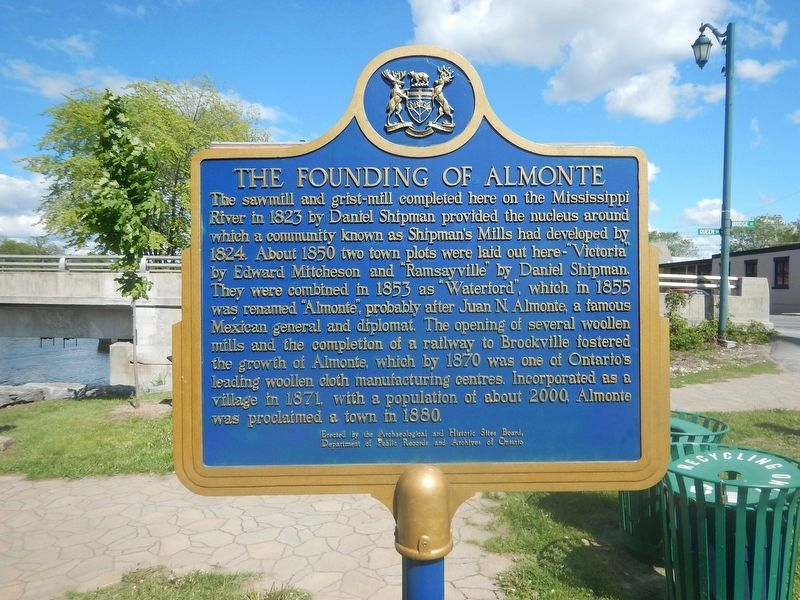 The Founding of Almonte Marker image. Click for full size.