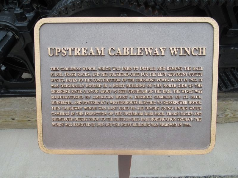 Upstream Cableway Winch Marker image. Click for full size.