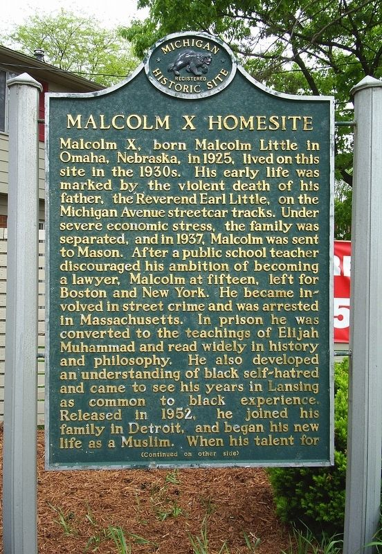 Malcolm X Homesite Marker image. Click for full size.