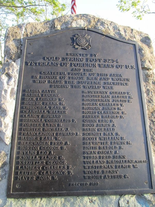 Cold Springs Neighborhood WWI Memorial image. Click for full size.