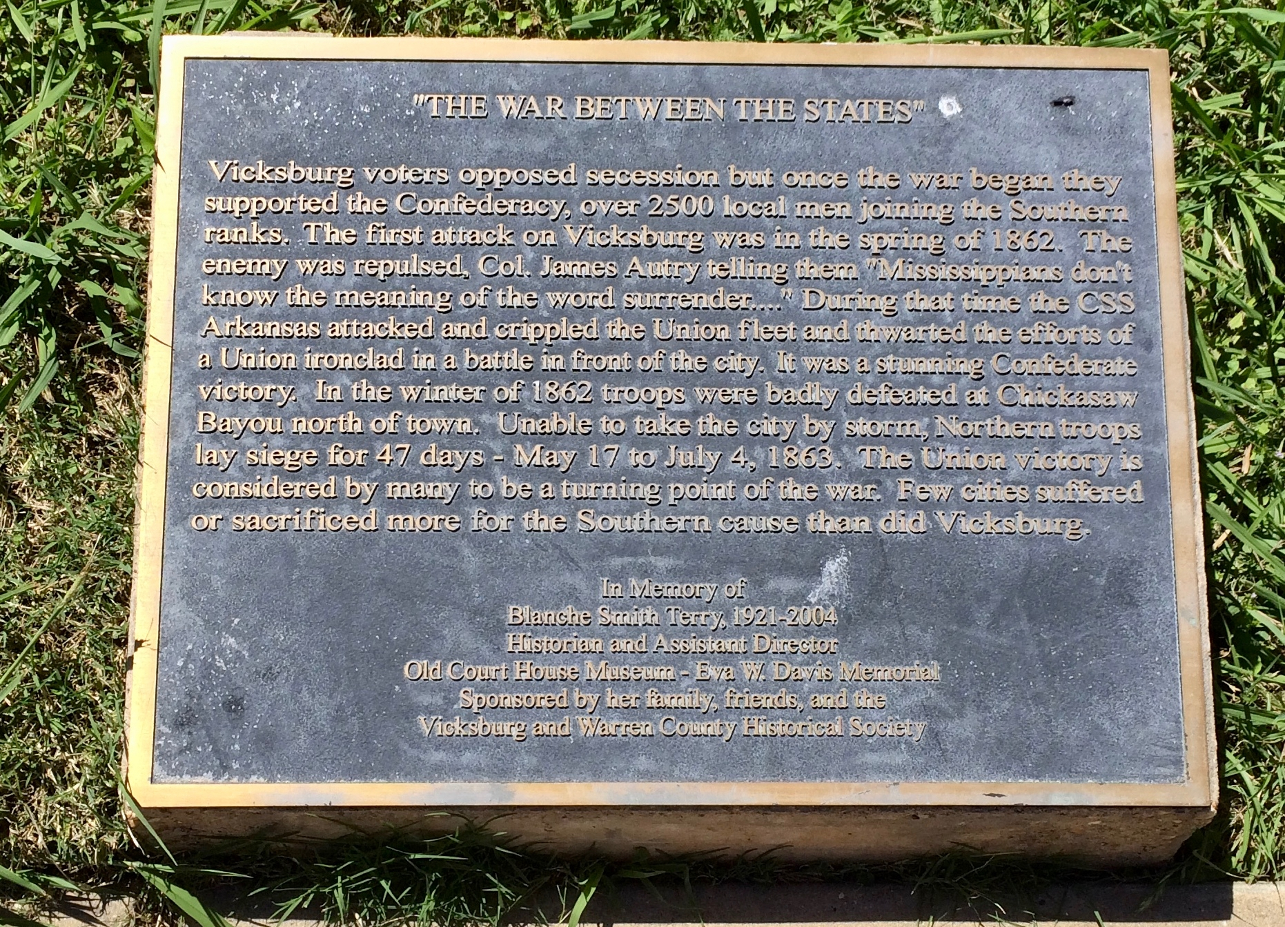 """The War Between the States"" Marker"