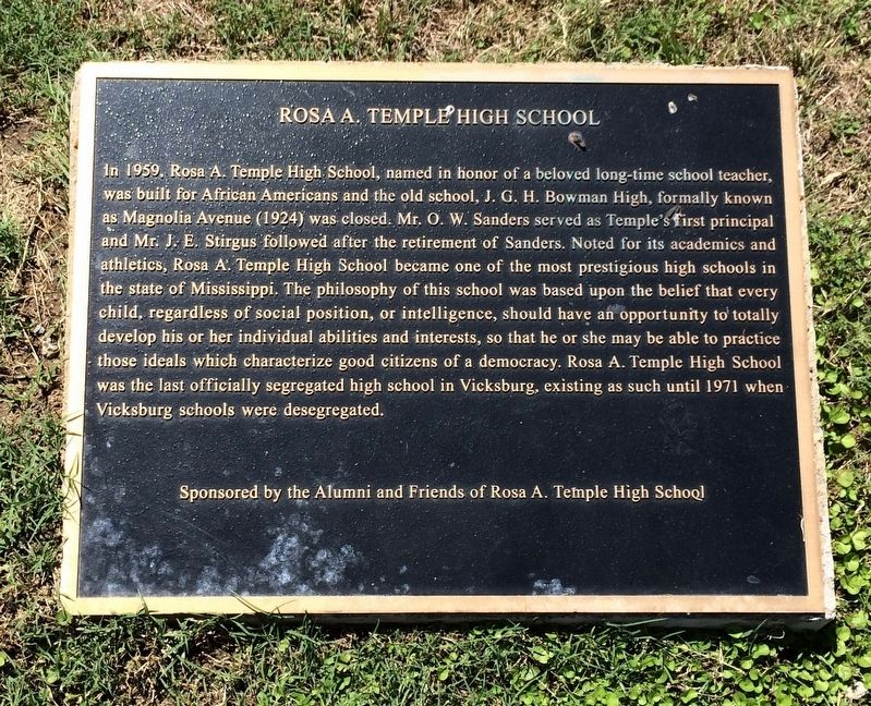 Rosa A. Temple High School Marker image. Click for full size.