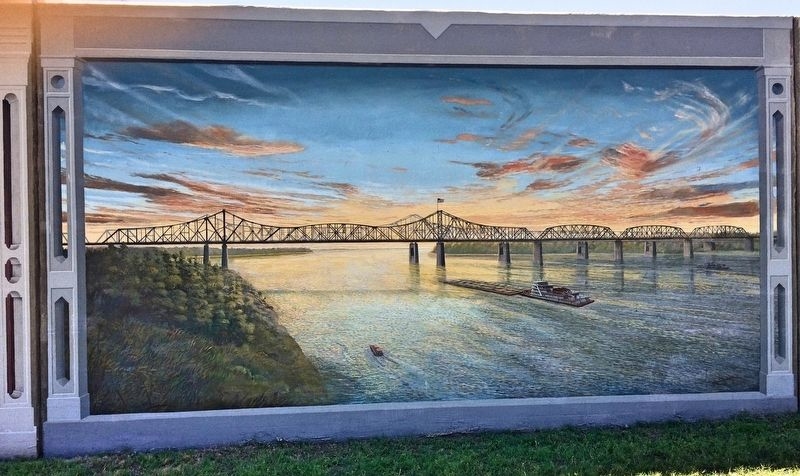 """Two Bridges at Sunset"" Mural image. Click for full size."
