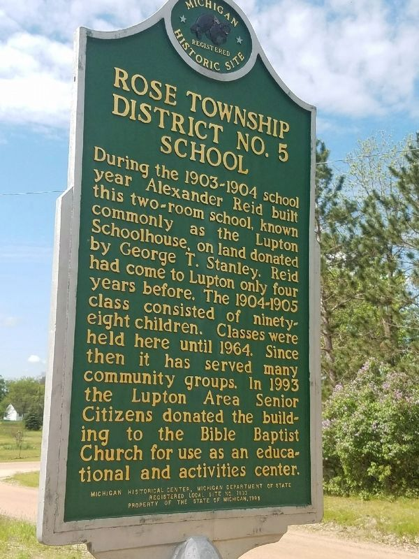 Rose Township District No. 5 School Marker image. Click for full size.