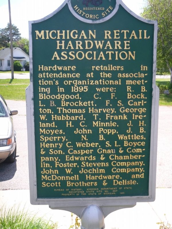 Michigan Retail Hardware Association Marker image. Click for full size.