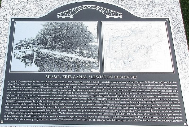 Miami- Erie Canal / Lewistown Reservoir Marker image. Click for full size.