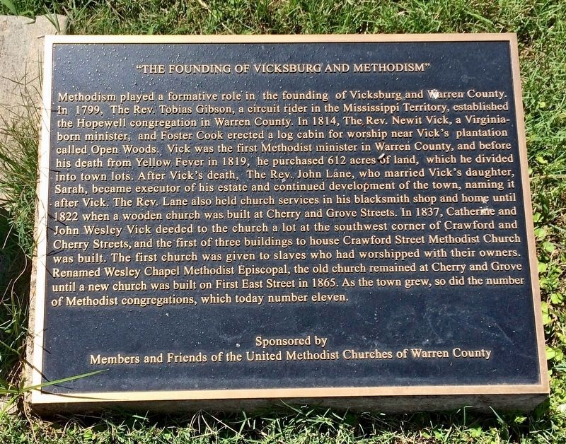 """The Founding of Vicksburg and Methodism Marker image. Click for full size."