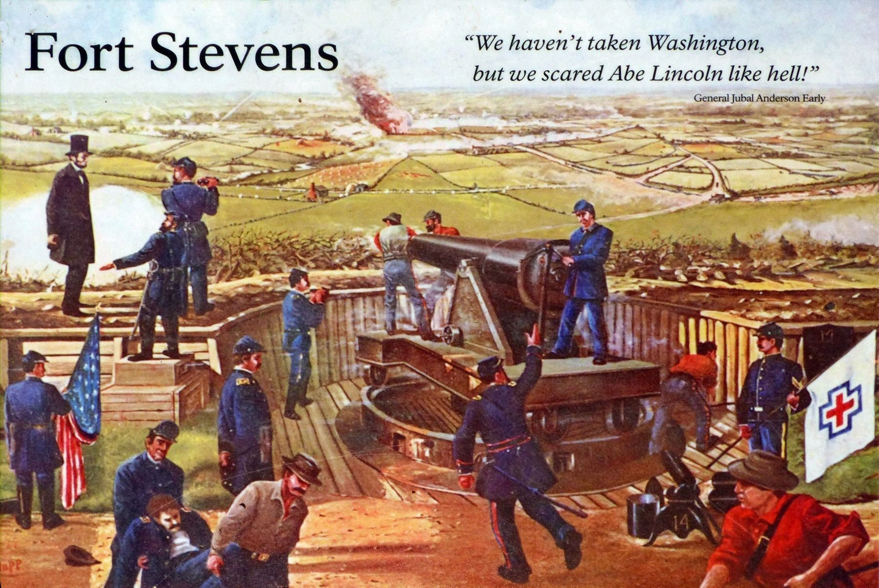 President Lincoln on the Parapet of Fort Stevens image. Click for full size.